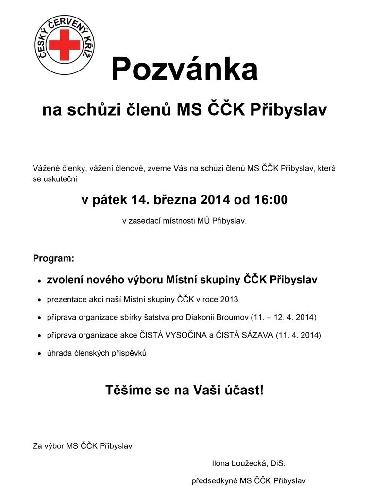 Pozvánka na schůzi ČČK_14.3.