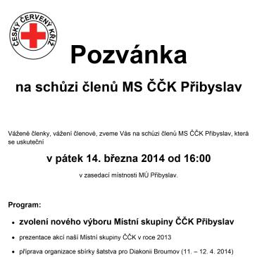 Schůze členů MS ČČK Přibyslav 14. 3. 2014